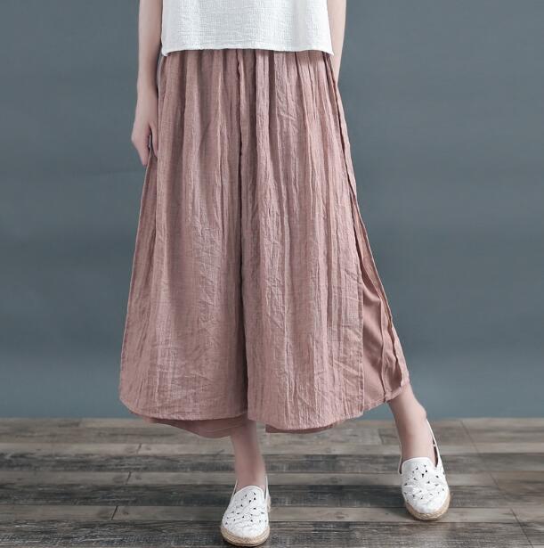 Cotton linen fake two piece pants elegant high slit wide leg pants casual mori girl