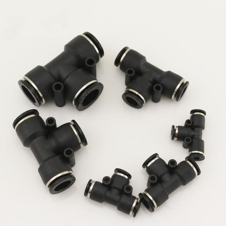 Freeshipping 10pcs/set Plastic Pneumatic Components Fittings T type Three way Union Quick Swapping Connector for Pipe joint