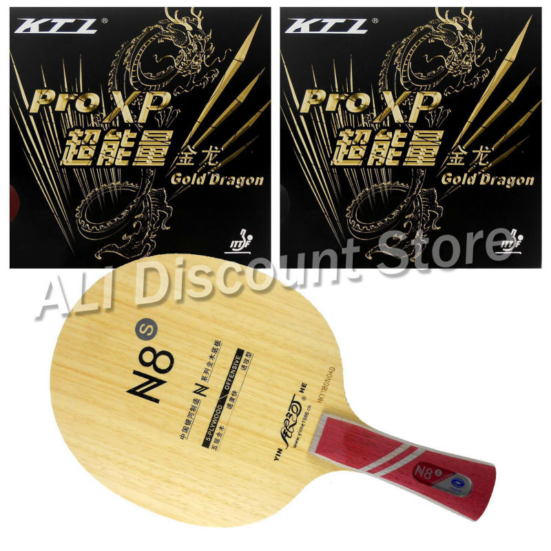 Galaxy N8s Blade with 2x KTL Pro XP Gold Dragon Rubbers for a Table Tennis Combo Racket Shakehand FL hrt 2091 blade with ktl pro xp and palio cj8000 biotech rubbers for a table tennis combo racket fl