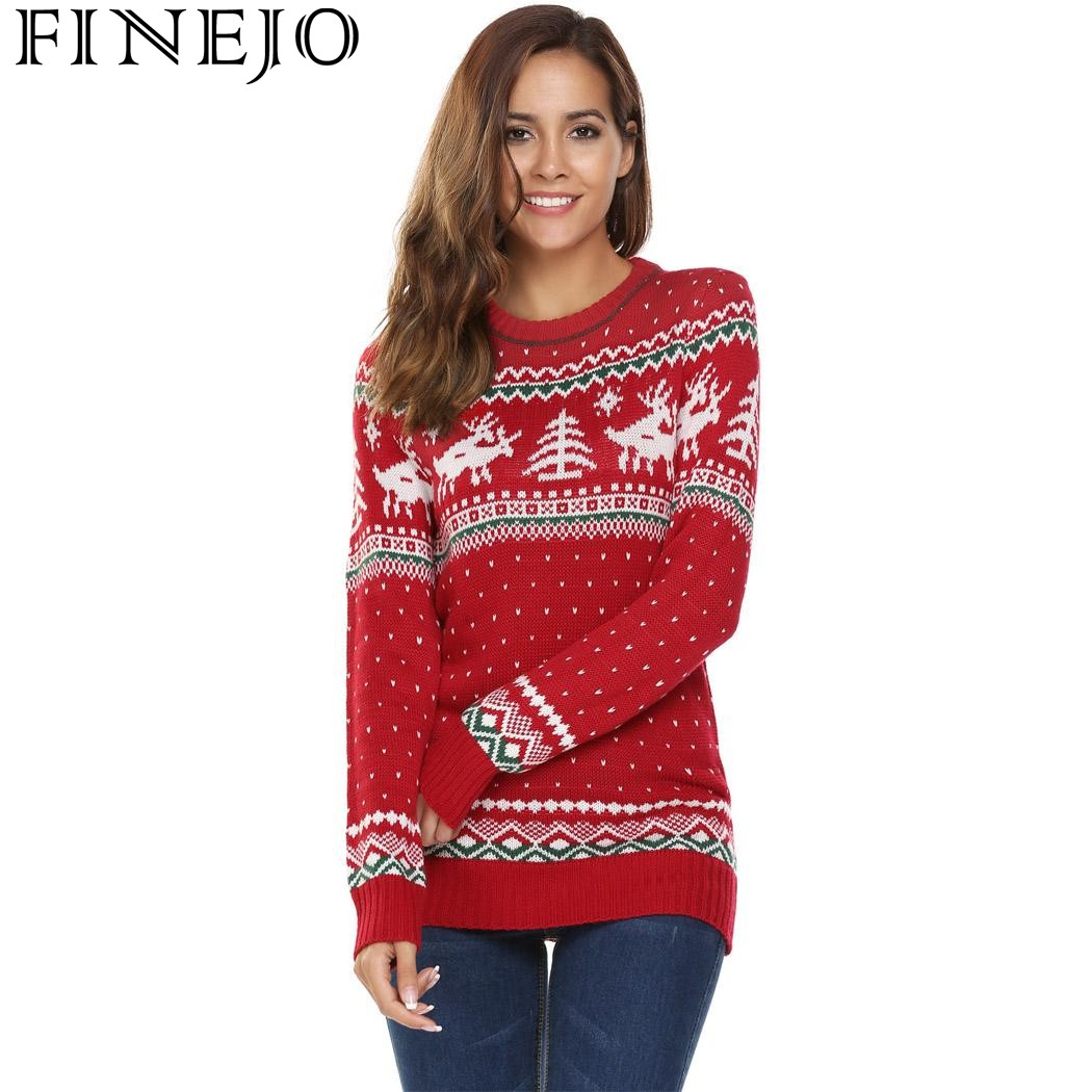 Finejo 2017 Christmas Print Slim Sweaters Women Tops Casual Jesus Long Sleeve O Neck Pullover Sweater For New Year Feminino