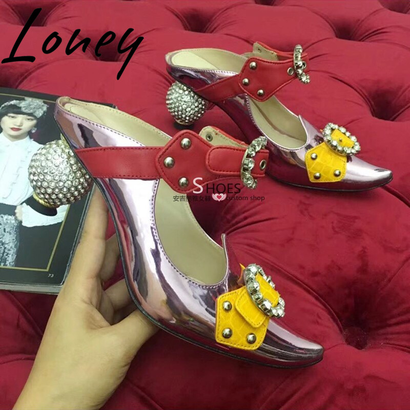 Loney Brand New Genuine Leather Sexy Pointed Toe Summer Sandals Crystal Ball Heel HIgh Heels Shoes Women in High Heels from Shoes
