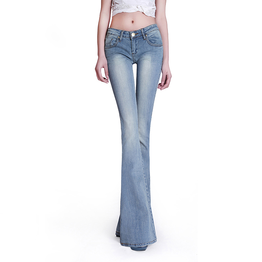ФОТО Free Shipping 2017 Spring Italy New Vintage Washed Mid Waist Light Blue Lengthened Slim Sexy Flare Pant Women Fashion Long Jeans