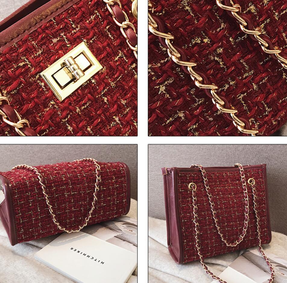 2 bags 2018 Winter Fashion New Ladies Big Tote bag Quality Woolen Women's Designer Handbag Lock Chain Shoulder Messenger bags 5
