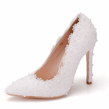 11cm Super High Heel Lace Pumps Shoes Woman White Lace Flowers Lady Bridal Wedding Pumps Pointed Toe Shoes XY-A0200