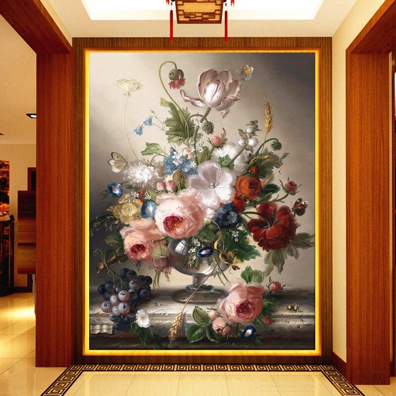 Европейский современный 3D Прихожая фоне обоев для Гостиная Спальня Дамаск цветочные обо ...