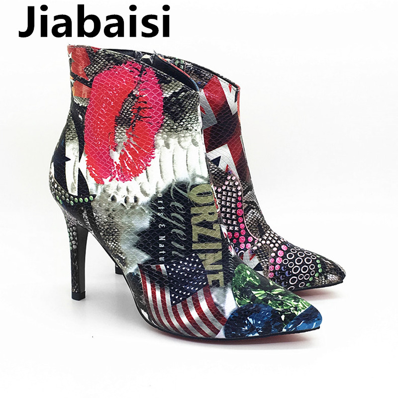 Jiabaisi shoes womens Red Lips Pointed Toe Platform beveling ankle boots Graffiti DIY Stiletto Zipper Classic malleous booties denim zipper hollow worn stiletto womens sandals