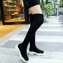 купить Black Riding Boots Women Faux Suede Round Toe Military Over The High Knee Boots Wedges Med Heel Party Sneakers Winter Warm Shoes дешево