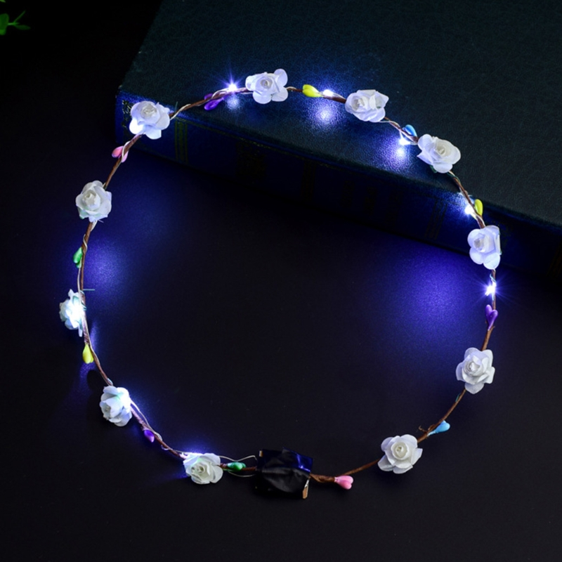 Women Girls LED Light Up Flower Headband Flashing Glow Crown Party Hair Wreath 4