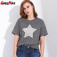 GAREMAY Women T Shirt With Stars Feminina Causal Sequins Short Sleeve Loose Tee Shirt Femme O