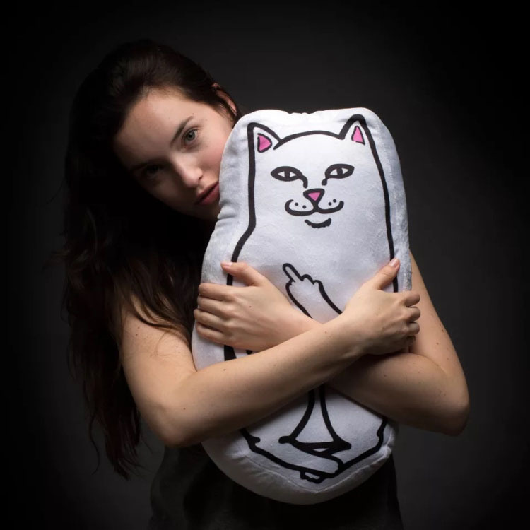 Funny GO AWAY Middle Finger Up Cat Pillow Stuffed Kitty Cushion Soft Animal Throw Pillow Plush