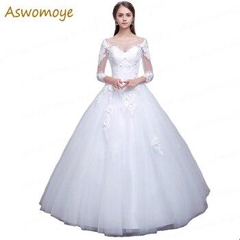 Elegant A-Line Wedding Dress 2018 New Arrival Bride Dresses 3/4 Sleeve Bridal Gowns Custom Made Vestido De Noiva robe de mariage Wedding Dresses