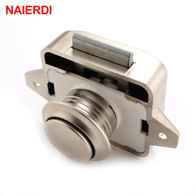 10PCS NAIERDI Camper Car Push Lock 26mm RV Caravan Boat Motor Home Cabinet Drawer Latch Button Locks For Furniture Hardware