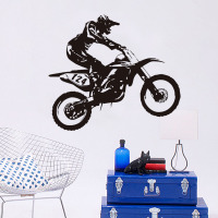 Free Shipping Personality Motocross Home Decor PVC Sticker Racing Number 124 Racer Riding Motorbike Wall Decal Bedroom For Child