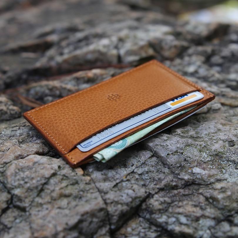 Hiram Beron Leather Card Holder Men Fashion Bark Lines Mini Wallet Vegetable Tanned Leather Free Custom
