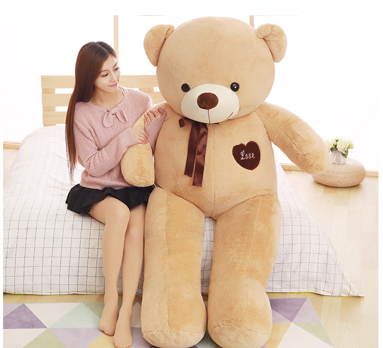 huge 180cm light brown love teddy Bear toy plush toy,hugging pillow birthday gift,b0770 huge lovely new plush teddy bear toy stuffed light brown teddy bear with bow birthday gift about 160cm