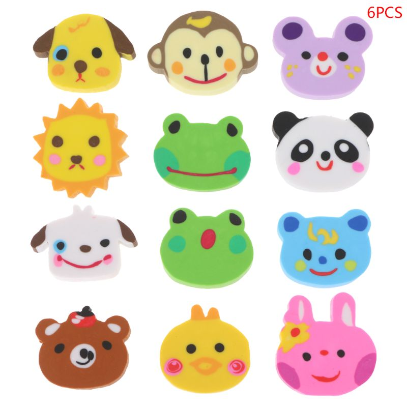 6pcs/set Animal Head Zoo Creative Pencil Erasers Cute Kids Gift Novelty School Stationery For Student
