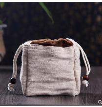 Double-layer cotton and linen tea storage bag Jianye tea cup bag teapot fast passenger cup bag portable portable travel cloth ba