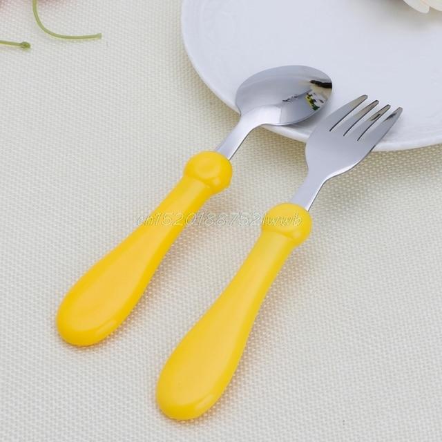 baby kids cartoon fork and spoon set tableware stainless steel forks