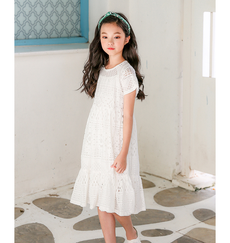 c9bb96e4f lace big girls dresses 2018 kids clothes for girls children summer cotton  hollow out white princess