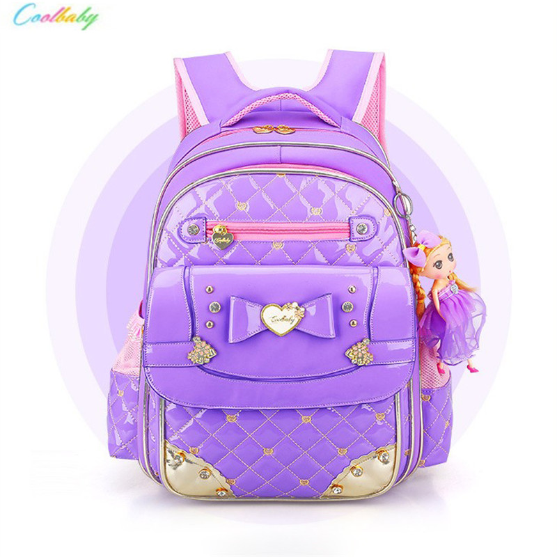 d365b058d7 Fashion Cute Girls Backpacks PU Children School Bags Child Orthopedic Backpacks  Bow Waterproof Book Bag Kids Satchel 1-3-6 Grade