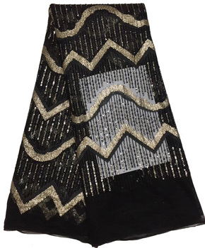 Free shipping (5yards/pc) fashion African Frenhc net lace black gold sequins tassles lace fabric for party dress FLZ893