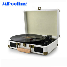 купить MPooling Portable Vinyl Record Player, Belt Drive 33/45/78 RPM Turntable, USB Recorder, AM/FM Radio, Aux-in, No Built-in Battery дешево