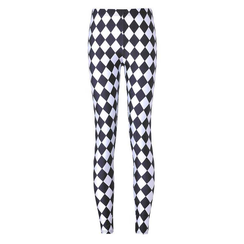 NORMOV Fitness Leggings Women Black White Plaid Leggings Fashion Harajuku Leggings Gothic Geometry Leggings Punk Rock Pants