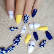 24Pcs Shiny Navy Blue Short Stiletto False Nail Pointed Top Artificial Fake Nails White Daisy Manicure Art Beauty Must