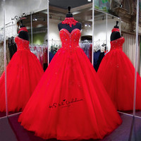 Gothic Red Wedding Dresses 2018 Ball Gown Wedding Gowns Lace Beads Floor Length Vintage Cheap Bride Dress Robe de Mariage Boda