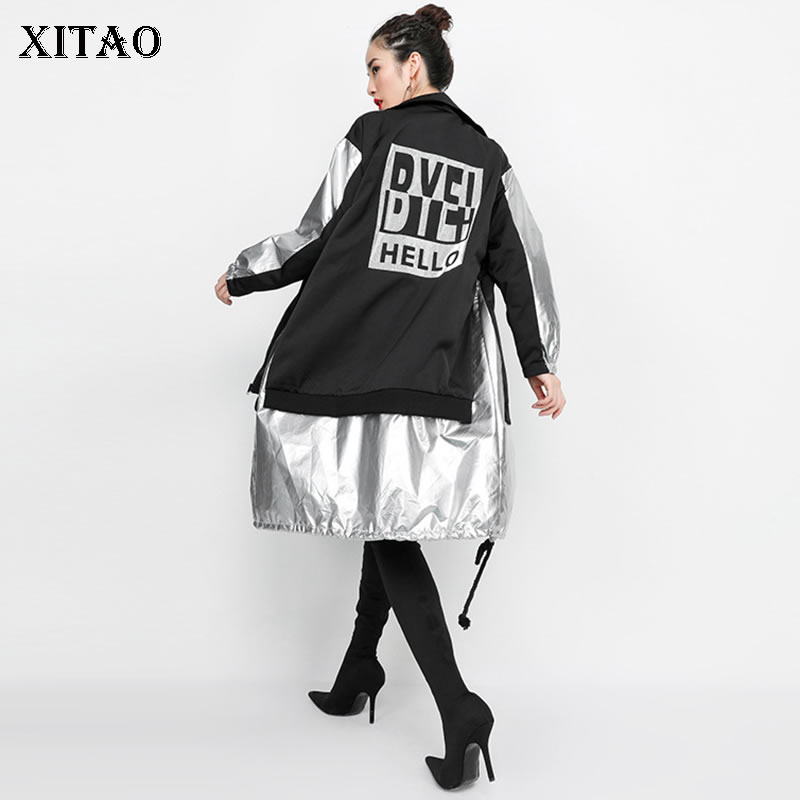 XITAO Back Print Hit Color Irregular Trench For Women Hip hop Wide Waisted Turtlneck Personality Coats