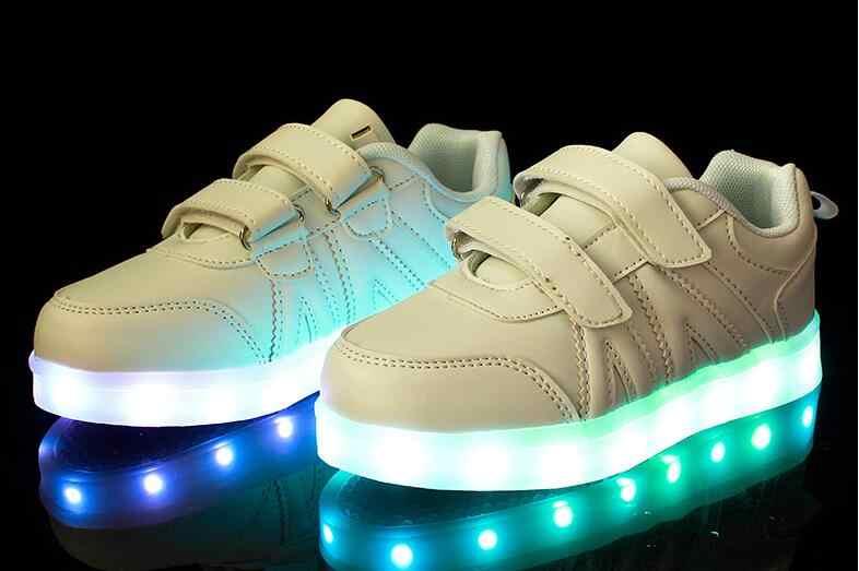 เด็กshoesแสงledส่องสว่างshoesชายหญิงusbชาร์จกีฬาshoesลำลองled shoesเด็กเรืองรองเท้าผ้าใบzapatillas
