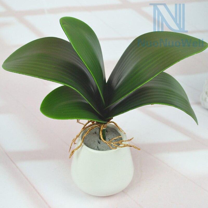 ᗛArtificial mariposa orquídea hojas verde planta flor artificial de ...