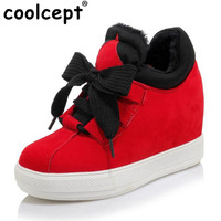 Coolcept Taille 32-45 Femmes Coins Chaussures Plate-Forme Bowtie Pompes Haute talons Lace up Casual Sexy Chaussures Femmes Automne Hiver Sexy pompes