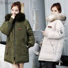 Brieuces 2018 coats and jackets women winter Winter Jacket with Fur collar Warm jacket women fur coat minb female coat