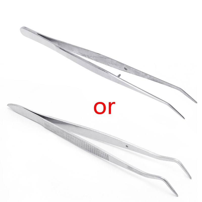 Stainless Steel Tweezers Serrated Curved Dental Surgical Instruments Dental Tool in Eyebrow Tweezers from Beauty Health