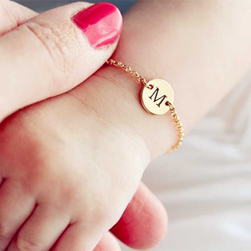 Dainty Rose Gold Baby Bracelet Disc Charm Custom Name Bracelets Initial Jewelry Stainless Steel Chain Personalized Gift 2019