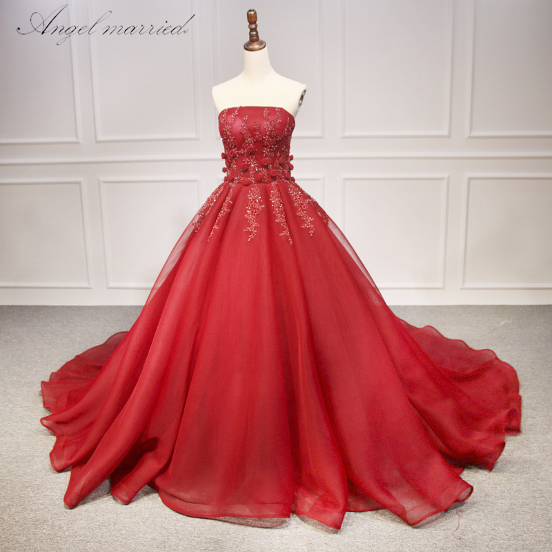 Angel Married Gorgeous Strapless Flowers   evening     dresses   Red Beaded Brazilian Indian Bride Gowns Luxury vestidos de noiva 2018
