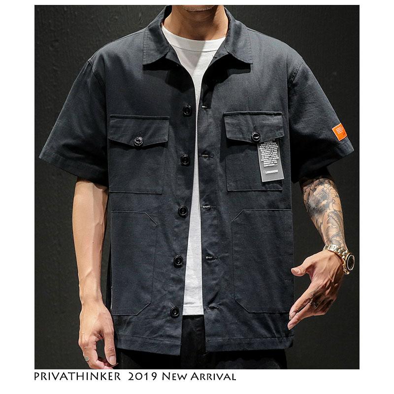 Privathinker Men Safari Style Shirt Streetwear 2019 Mens Japanese Shirts Casual Korean Male Big Pockets Shirts Summer Oversize