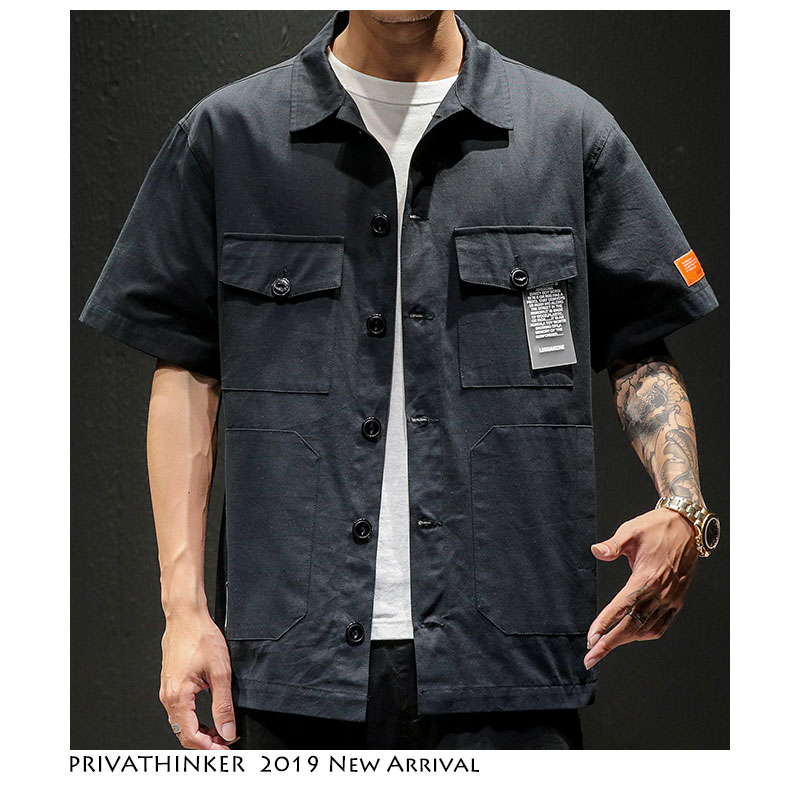 Privathinker Men Safari Style Shirt Streetwear 2020 Mens Japanese Shirts Casual Korean Male Big Pockets Shirts Summer Oversize