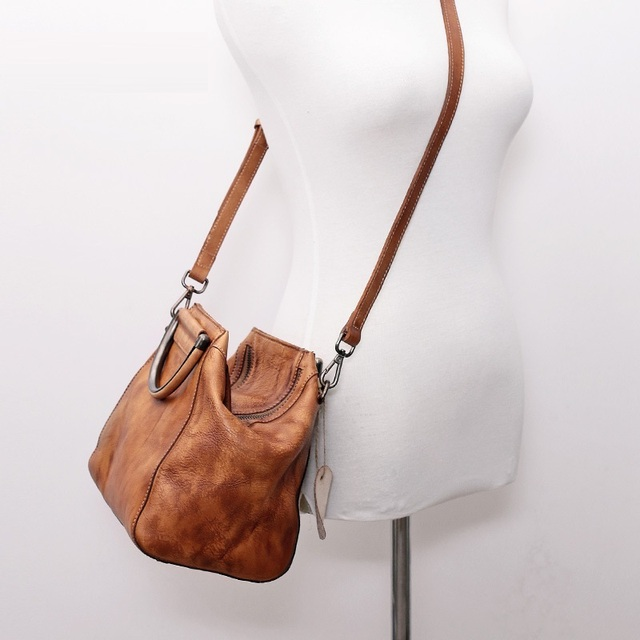KEVTI Brand Vintage Genuine Leather Handbag Women Cowhide 3D color Shoulder bag Ladies Casual Cool Rough bags for Female tote