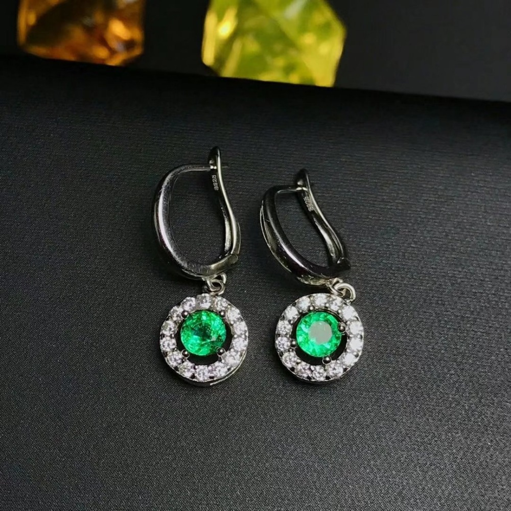 SHILOVEM 925 sterling silver Natural Emerald drop earring lassic fine Jewelry women wedding women wholesale yh040401ml shilovem 925 sterling silver emerald stud earrings classic fine jewelry women wedding women gift wholesale jce040601agml