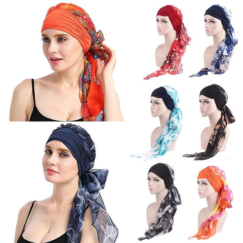 Fashion Women Muslim Stretch Turban Chemo Hat Headwear Long Hair Head Scarf