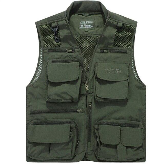 2017 Men's Clothing Summer Mesh Casual Men Vest With Many Pockets Regular Plus Large Size 8XL Two Colors Vest Men Polyester Vest