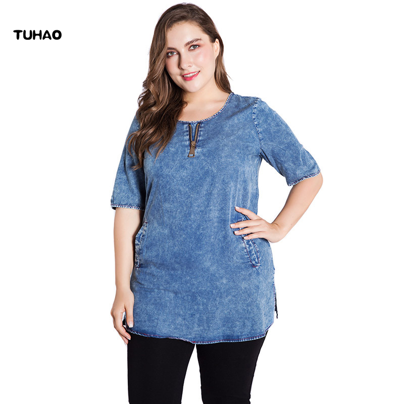 TUHAO Plus Size 6XL 5XL Denim Blouses Shirt for Women 2018 Shirt Ladies Tops Elegant Office Lady Big Size Blouse Shirts ZPZ124