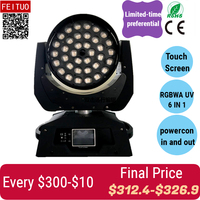 A 4pcs Touch screen moving head light RGBWAUV 6 in 1 36X18W ZOOM Moving Head LED Wash Fixture