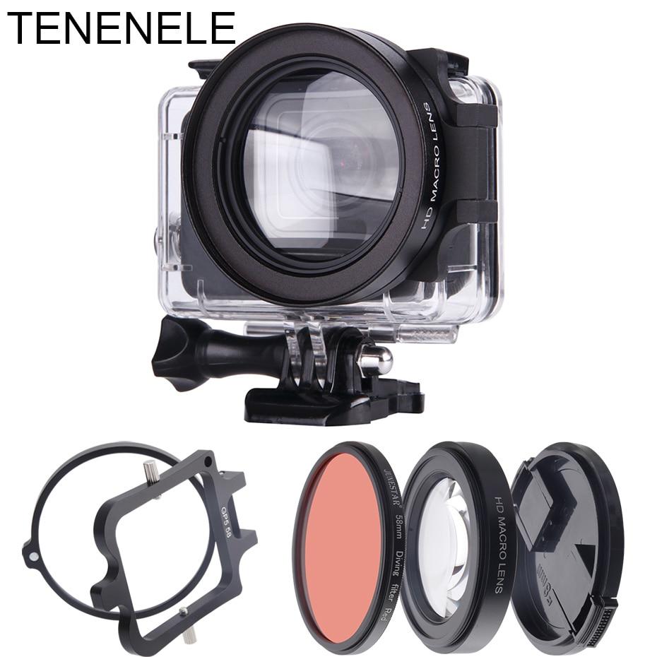 Sport Camera Filters 58mm Red Filter Macro Lens Set For GoPro Hero 6/5 Black Underwater Diving Camera Filters Kit For Hero 2018