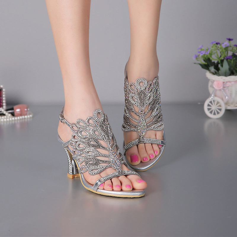 593056dc1a17 Aliexpress.com   Buy Luxurious Silver Rhinestone Genuine Leather High Heels  Wedding Dress Shoes Summer Sandals Chunky Heel Floral Formal Dress Shoes  from ...