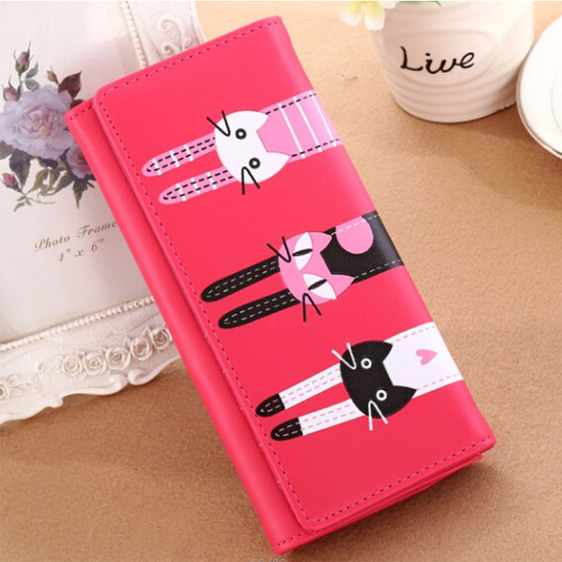 YOUYOU MOUSE Lady Long Paragraph Cute Wallet Purse PU Leather Money Card Folder Wallet Student Simple Zip Cat Coin bag Cartoon youyou mouse fashion cute wallet cartoon embroidery pattern retro purse short section pu leather 2 fold multi card bit wallets