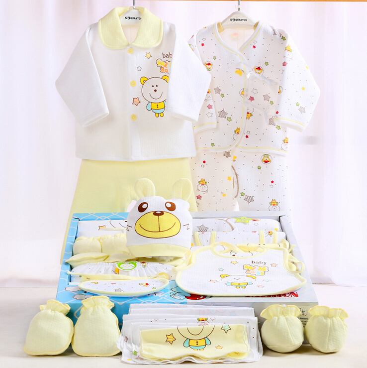 710842df534f 100% cotton newborn gift box (18pcs sets) baby clothes autumn and ...