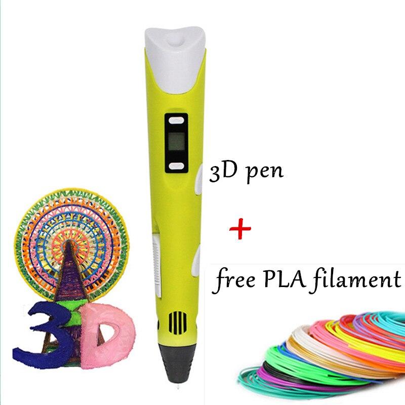 3D printing pen YELLOW MAGIC PEN 1 75mm PLA Filament 3d pen for kids Drawilng tools